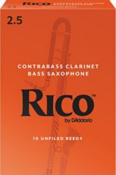 Rico RFA1025 Contra Clarinet/Bass Sax Reeds, Strength 2.5, 10-pack