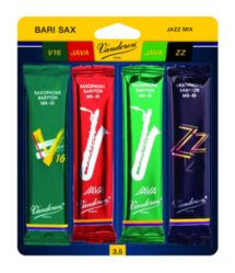 SRMIXB25 Vandoren Bari Sax Jazz Reed Mix Card includes 1 each ZZ, Traditional, Java and Java Red Strength #2.5