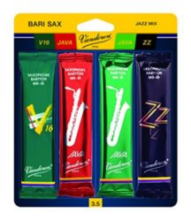 SRMIXB35 Vandoren Bari Sax Jazz Reed Mix Card includes 1 each ZZ, Traditional, Java and Java Red Strength #3.5