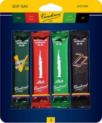 SRMIXS3 Vandoren Soprano Sax Jazz Reed Mix Card includes 1 each ZZ, V16, Java and Java Red Strength #3